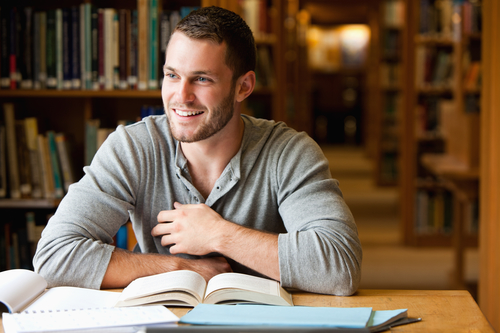 Graduate student carries out research in public library