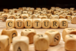 Wooden scrabble letters spell the word 'culture'