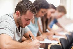 Students take a translation test
