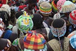 Senegalese women congregate in the street