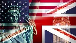 The Statue of Liberty is placed alongside Big Ben against the American and British national flags
